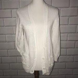 ANN TAYLOR LOFT 100% Linen Button Front Cardigan